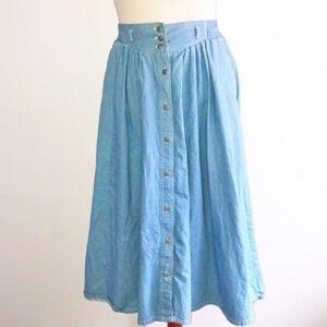 Vintage Retro 80s denim a-line midi skirt pockets!